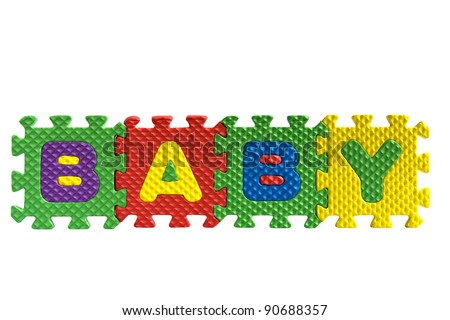 "The word ""Baby"" written with alphabet puzzle letters isolated on white background"