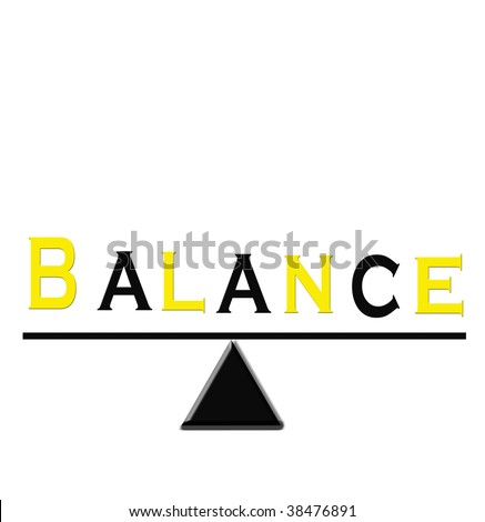 The word Balance in yellow and black on a balancing triangle.