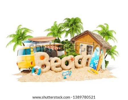 The word Beach made of sand on a tropical island. Unusual 3d illustration of summer vacation. Travel and vacation concept. Isolated