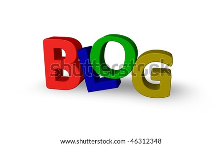 the word blog in colorful letters - 3d illustration - stock photo