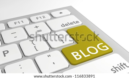 The word Blog on the Enter key on a modern keyboard, with a selective focus on the yellow key.