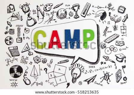 The word CAMP on STEM education background. STEM Camp - science, technology, engineering and mathematics background concept with doodle icon education. Education camp or education STEM concept.