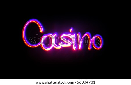 "The word ""casino"", executed by technology of freezelight photo"