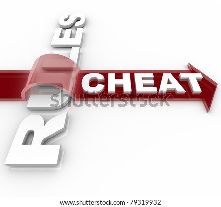 The word Cheat on an arrow jumping over the word Rules, illustrating a decption or breaking the laws that aim to make a system fair