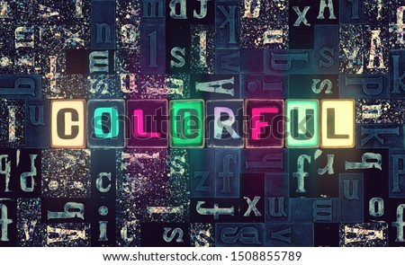 The word Colorful as neon glowing unique typeset symbols, luminous letters over mosaic abstract pattern background