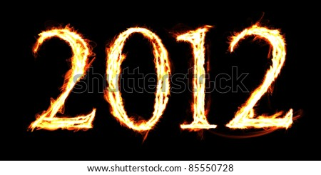 "The word ""2012"" created with flaming letters"