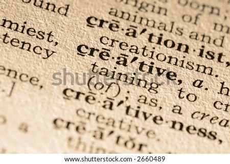 The word creative. Close-up of the word creative in a dictionary.