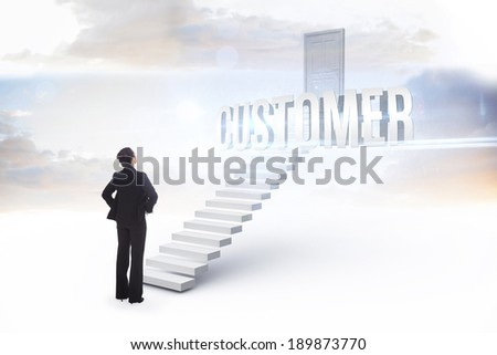 The word customer and businesswoman with hands on hips against white steps leading to closed door