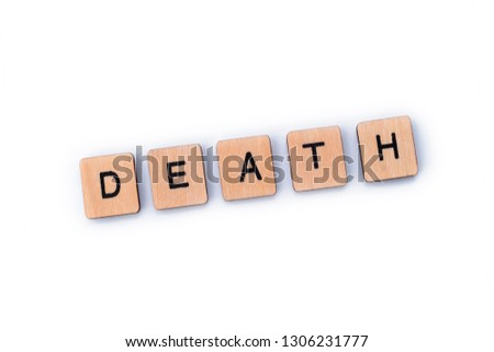 The word DEATH, spelt out with wooden letter tiles. #1306231777