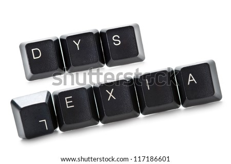 the word dyslexia spelled out in computer keypads