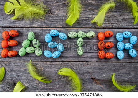 The word EASTER made from eggs #375471886