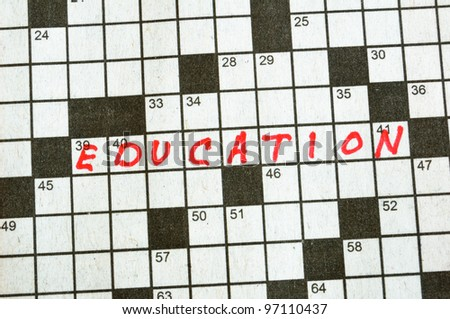 The Word Education on Crossword Puzzle in Red Ink, Copy Space
