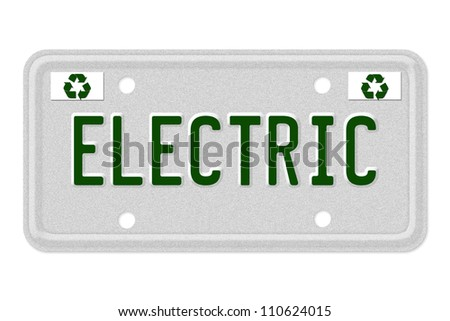 The word Electric on a gray license plate with recycle symbol isolated on white, Electric Car License Plate