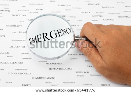The word EMERGENCY is magnified.