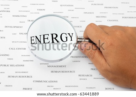 The word ENERGY is magnified.