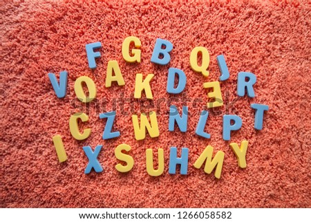 the word English made up of colored letters on a black background Zdjęcia stock ©