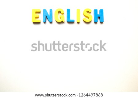 the word English made up of colored letters on a white background Zdjęcia stock ©