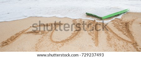 The word fun written in sand at the beach #729237493