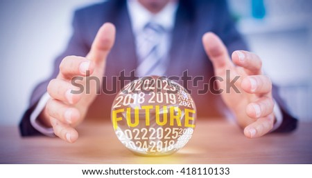 The word future against businessman forecasting a crystal ball