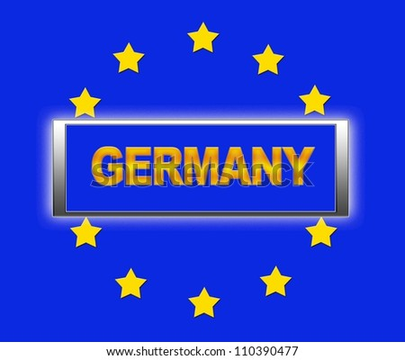The word Germany and flag of Europe .