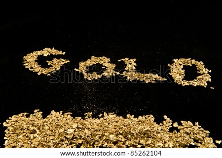 the word gold spelled in in gold nuggets