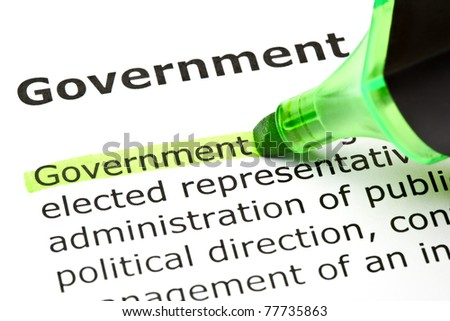 The word Government highlighted in green with felt tip pen.
