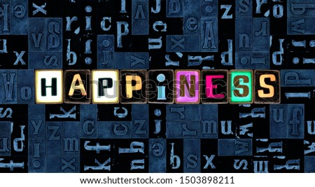 The word happiness as letters, unique typeset symbols over abstract mosaic pattern background