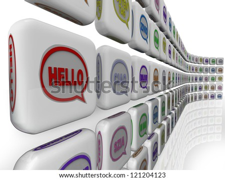 The word Hello in different languages on a wall of greeting and friendly welcomes
