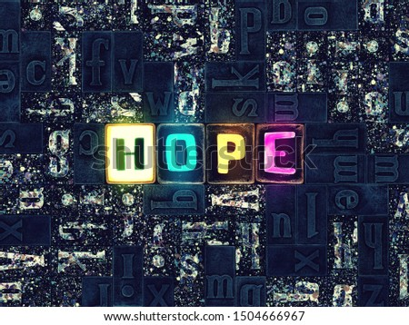 The word Hope as unique typeset symbols, letters over mosaic abstract pattern background