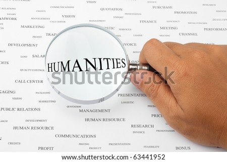 The word HUMANITIES is magnified.
