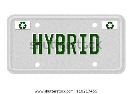 The word Hybrid on a gray license plate with recycle symbol isolated on white, Hybrid Car License Plate