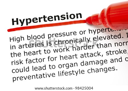 The word Hypertension underlined with red marker on white paper.