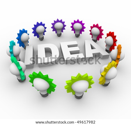 The word idea surrounded by many colorful light bulbs