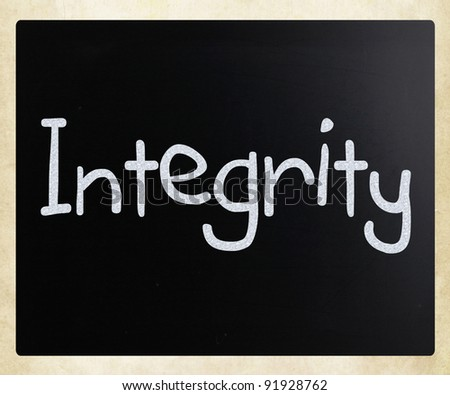 "The word ""Integrity"" handwritten with white chalk on a blackboard"