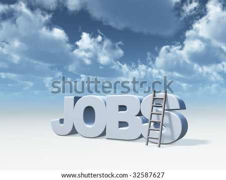 the word jobs and a ladder in front of cloudy blue sky - 3d illustration