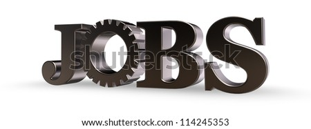 the word jobs and gear wheel - 3d illustration