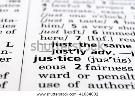 The word Justice in a dictionary