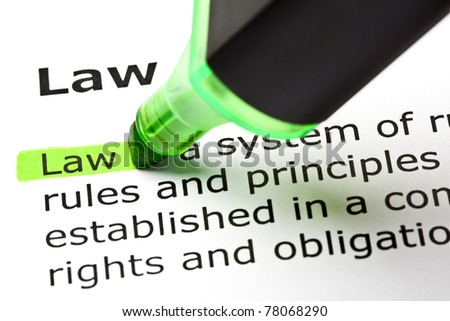 The word Law highlighted in green with felt tip pen.