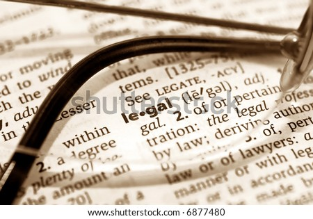 The word legal as seen through a pair of glasses