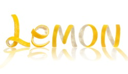 The word lemon is made of peel, isolated on white background