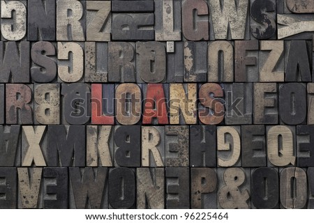 The word Loans written in antique letterpress printing blocks.