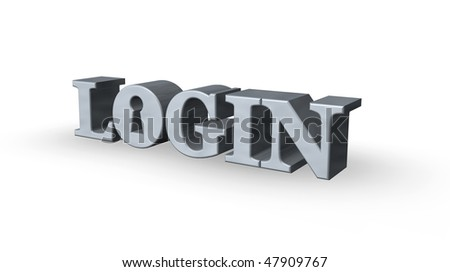the word login with keyhole on white background - 3d illustration