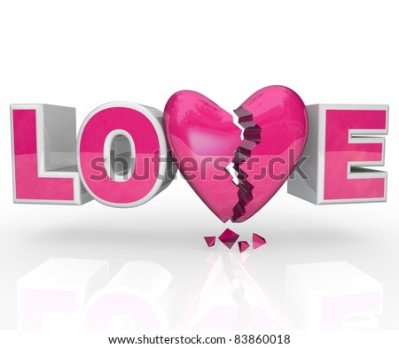 V Alphabet Images With Love The word Love with a broken heart in place of the letter V ...