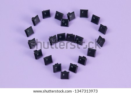 "the word love written with spanish keyboard keys (captions for text in letters O, V, E, X, G, S, Z and upper right key says respectively ""Open, Paste, All, Copy, Save, Underline, Undo and Bold"") #1347313973"