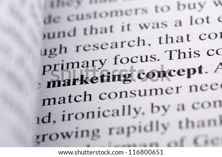 The word marketing concept print with bold on the paper