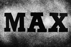 The word max is written in black letters on a white powder