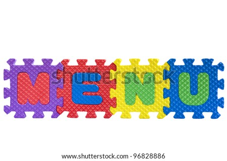 "The word ""Menu"" written with alphabet puzzle letters isolated on white background"