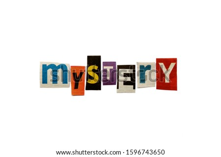 The word MYSTERY formed with newspaper cutout on white paper background. Letters from newspaper clippings forming the word MYSTERY. Concept for mysteries, suspense and crime thriller genre. Сток-фото ©
