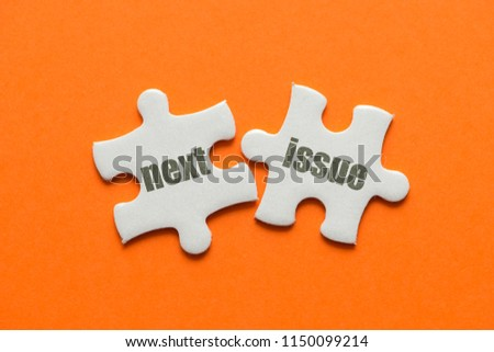 The word next issue on two matching puzzle on orange background