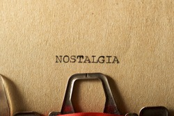 The word, nostalgia, written with a typewriter.